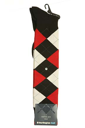 Mens 1 Pair Burlington Golf Argyle Knee High Sock Black / White / Red