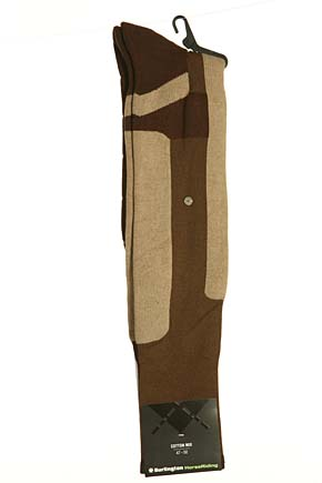 Mens 1 Pair Burlington Horse Riding Protective Knee High Sock Browns