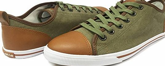 Burnetie Vintage, Mens Canvas and Leather OX Low-top Sneakers (UK 8 / EU 42, Olive)