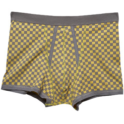 1 Pair of Yellow Checkerboard Print Trunk Underwear