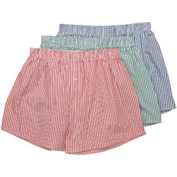 3 Pack Striped Woven Boxers