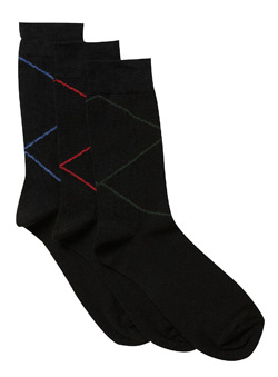 3Pk Black Raker Stripe Socks