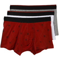 3PK Black/Red Stars Hipsters