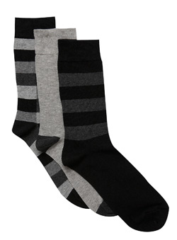 3Pk Grey And Black Mix Socks