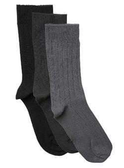 3Pk Grey Design Socks