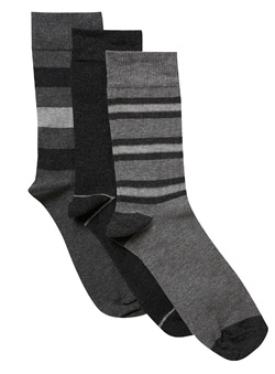 3Pk Grey Mix Stripe Socks