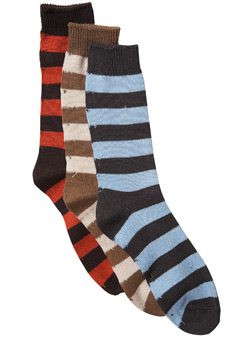 3Pk Mixed Bold Stripe Socks