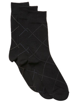 3Pk Raker Check Socks