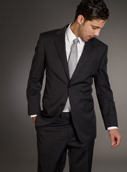 Balmain Grey Stripe Suit Jacket