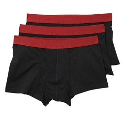 Black 3 Pack Men` Hipsters Trunk Underwear