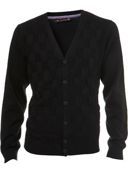 Black Argyle Textured Cardigan