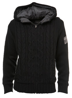 Black Cable Knit Hoodie Jacket