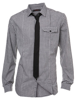 Black Check Fitted Shirt and Tie Set