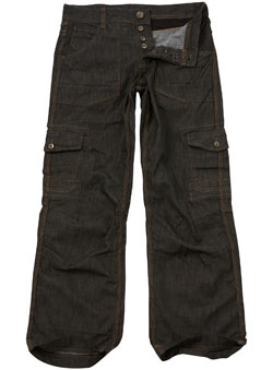 Black Coated Combat Denim Jeans