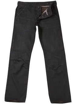 Black Coated Worker Straight Jeans