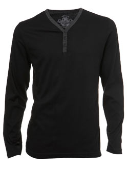 Black Contrast Y-Neck Long Sleeved T-Shirt