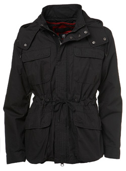 Black Cotton Poplin Parka Jacket