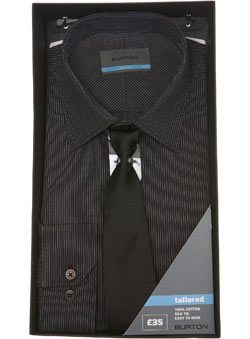 Black Cotton Shirt and Tie Gift Set