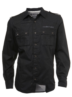 Black Double Layer Fitted Shirt