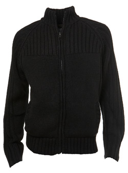 Black Fleece-Lined Zip Through Jumper