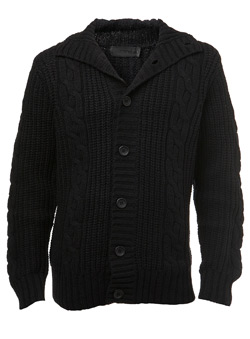 Black Label Black Wool Cable Knitted Cardigan