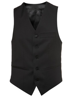 Black Label Black Wool Suit Waistcoat