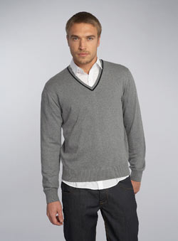 Black Label Grey Egyptian Cotton V-Neck Jumper