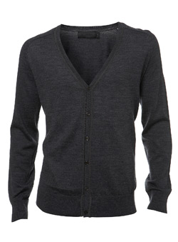 Black Label Grey Merino Wool Knitted Cardigan