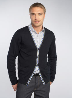 Black Label Navy Egyptian Cotton Cardigan