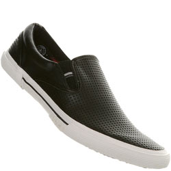 Black Perforated Slip On Sports Shoe
