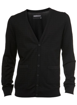 Black Pique Check Cardigan