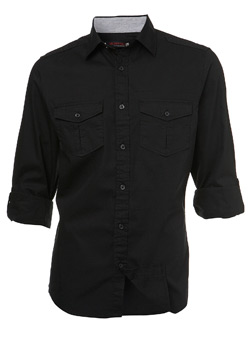 Black Roll Sleeve Regular Shirt