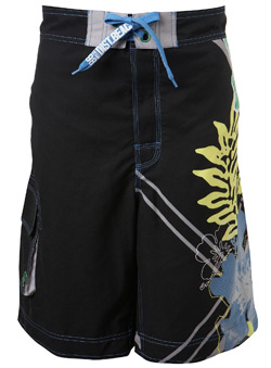 Black Side Leg Print Swim Short