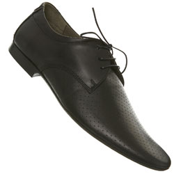Black Tie Point Perforated Leather Shoes