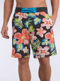 Black Tropical Printed Swim Shorts