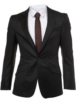 Black Wool Peak Lapel Premium Suit Jacket