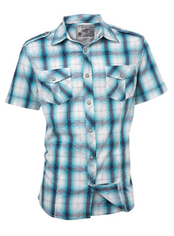 Blue and White Check Short Sleeve Casual Shirt