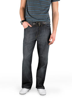 Blue/Black Straight Denim Jeans