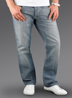 Blue Bleach Wash Straight Denim Jeans