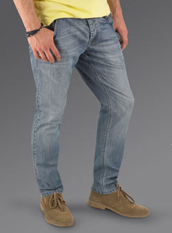 Blue Bleach Wash Tapered Denim Jeans