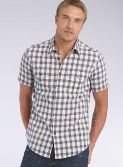Blue Crinkle Check Shirt