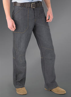 Blue Dark Coated Loose Denim Jeans