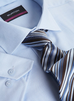 Blue Herringbone Shirt And Tie