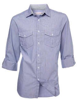 Blue Stripe Roll Sleeve Regular Shirt