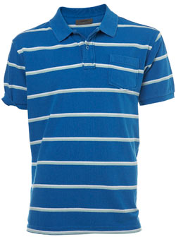 Blue Striped Pique Polo Shirt