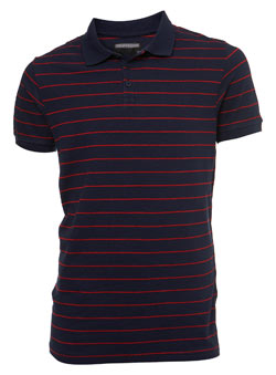 Blue Striped Pique Polo