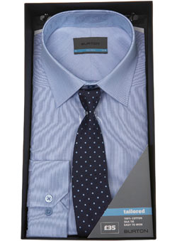 Blue Striped Shirt and Tie Gift Set