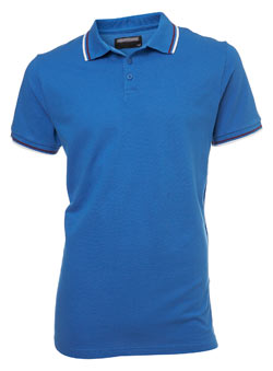Blue Tipped Pique Polo