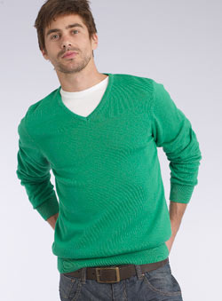 Bright Green V-Neck Jumper