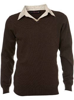 Brown 2in1 Shirt V-Neck
